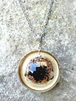 necklace Orgone Orgonite pendant 24K Gold, Shungite, Black Tourmaline,protection