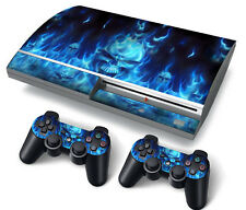 PS3 ORIGINALE PLAYSTATION 3 SKIN ADESIVI in PVC per console & 2 PADS BLUE FIRE