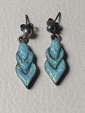 Beautiful Vintage Pair of Native American Opal Earrings by Navajo Raymond Yazzie