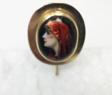 Antique Enamel Portrait Of Women in Scarf 14K Short Stick Pin