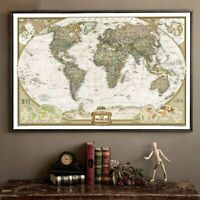 Large Vintage World Map Office Supplies Detailed Antique Poster Wall Chart