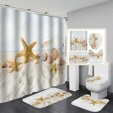 Beach Conch Starfish Shower Curtain Bath Mat Toilet Cover Rug Bathroom Decor