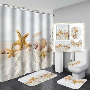 Beach Conch Starfish Shower Curtain Bath Mat Toilet Cover Rug Bathroom Decor