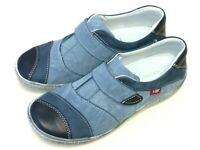 Kacper Polen Damen Schuhe Halbschuh Klett Slipper Sneaker 2-3870 Leder blau