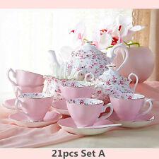 Fine Bone China Pottery Porcelain Elegant Ceramic 21pc Coffee Tea Pot Cup Set #A