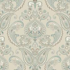 Wallpaper Candice Olson Tasara Paisley Damask Aqua Blue Brown on Pearl Beige