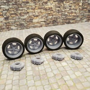 "1/24 Scale 3D Printed 20"" Staggered Depth Salt Flat Wheels w Tires & Brakes"