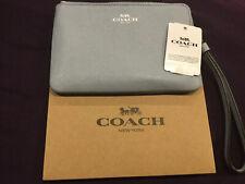 COACH Corner Zip Wristlet Pebble Leather, Pale Blue - F58032
