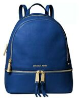 Authentic Michael Kors Rhea Zip Small Leather Backpack. Vintage Blue/Gold. NWT