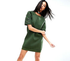 NEW NWT ASOS STORY OF LOLA LEATHER LACEUP SLEEVES OLIVE GREEN NEOPRENE DRESS