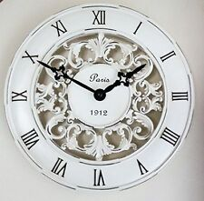 Shabby Chic Vintage French Style Wall Clock in Antique Cream 28cm Perfect Country Kitchen