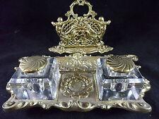 Antique Brass Double Inkwell & Letter Holder