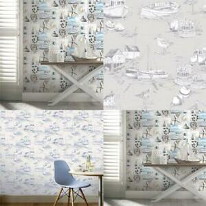 Arthouse Maritime Collage/Curlew Bay Beech Seaside Nautical Wallpaper Blue/Grey