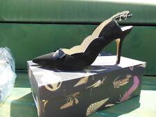 Nicole Miller Wm Sz 10M Valerya Black Nubuck Leather Slingback Scallop Edge Bow