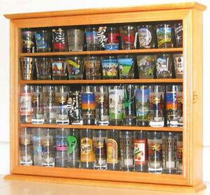 Tall Shot Glass Display Case Cabinet, Shooters holder Wall Shadow Box Oak Finish