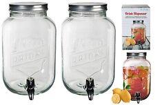 2x3.5L Vintage Barrel Glass Drink Dispenser Jar With Tap Punch Water Juice Party