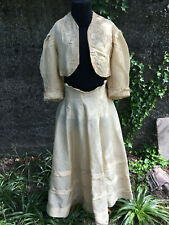 RARE robe 1900 dentelle soie corset caraco jupe chapeau gants vintage dress sac