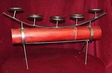 Large Table Top Mantel Bamboo & Metal Pillar Candle Sconce