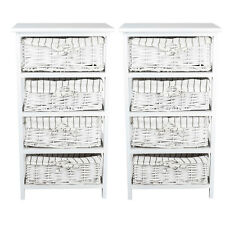 2pcs Wooden Bedside Table Cabinet With 4 Wicker Drawers Nightstands Bedroom Chic