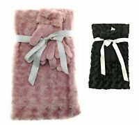Womens Faux Fur Infinity Scarf and Glove Set Winter Casual One Size