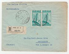 STORIA POSTALE 1948 REPUBBLICA COPPIA L.25 POSTA AEREA SU RACC. PISA 5/1 Z/3019