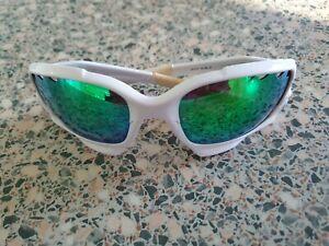Oakley white frame polarized Jawbone mirror sunglasses. 26-210.