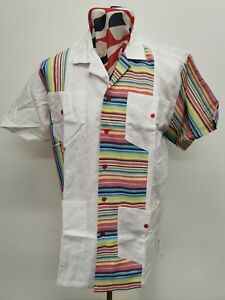 Crazy Striped Dead Stock/Unworn Linen Guayabera Short Sleeve Shirt Size  Large