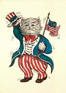 Postcard Evelyn Gathings Fantasy Dressed Cat ca 1987 - Uncle Sam Cat