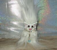 White Persian Cat Troll OOAK Doll Custom DAM long haired rhinestone collar USA