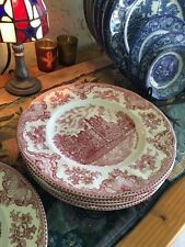 """Johnson Bros England Old Britain Castles 10"""" Dinner Plates Pink Red Set of 2 NWT"""