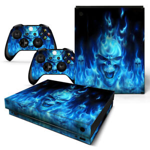 For Xbox One X Skin Console & 2 Controllers Blue Flame Skull Decal Vinyl Wrap