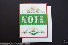 Vintage Unused NOS Xmas Greeting Card Group of Angels Singing Noel