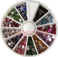 6cm NAIL ART GEMS JEWELS DESIGN CRAFT NAILS WHEEL 3mm ROUND MIXED COLOUR GEMS