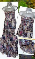 MONSOON Amai Bandeau Beautiful Ikat Print Open Leg Strapless Maxi Dress Size S
