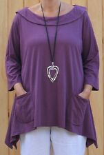 Lagenlook Purple Boat Neck Collared Cotton Tunic H33 Jersey Knit Plus Size 24-28