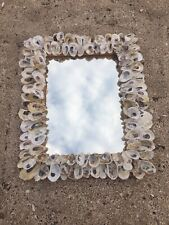 """Handcrafted New England Oyster Shell Mirror. Wicker/Rattan Frame Approx 24""""X 15"""""""