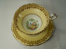 Vintage Foley YELLOW Tea Cup and Saucer. Exotic Bird of Paradise. Broadway.