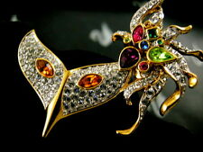 SIGNED SWAROVSKI PAVE' CRYSTAL MARDI GRAS MASK PIN ~BROOCH RETIRED RARE NEW