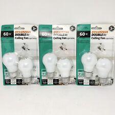 3 Packs (6 Bulbs) Sylvania 60w A15 Frost Double Life Ceiling Fan Light Bulbs