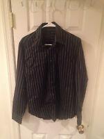 Zara Man Striped Long Sleeve Men's Shirt Size Large L Black Gray 100% Cotton