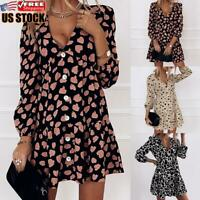 Womens V Neck Leopard Printed Mini Dress Ladies Long Sleeve Swing Skater Dresses