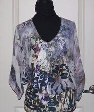 NWOT! Mushka by Sienna Rose Beautifull multi color semi sheer blouse Womens Sz S