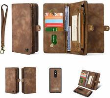 LG Stylo 5 Wallet Case Leather Flip Zipper Purse Magnetic Detachable Cover Brown