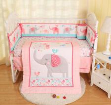 7pcs Girls Baby Bedding Set Elephant Birds Nursery Quilt Bumper Sheet Crib Skirt