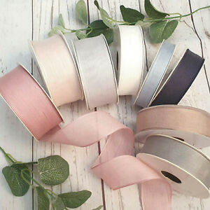 25mm, 38mm Soft Wired Edge Ribbon Blush, Sage Green, Natural, Grey, Cream, White