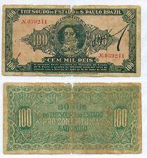 BRAZIL NOTE 100 MIL REIS DECREE 1932 RARE P S865