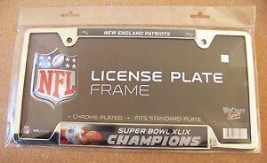 Super Bowl 49 XLIX New England Patriots Champions metal license plate frame