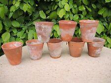 """8 Vecchi Vintage Vasi di Terracotta per piante - 3.75"""" di diametro (522)"""