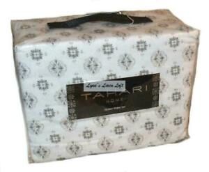 TAHARI Cotton Flannel Black and White Snowflake Medallions QUEEN SHEET SET NEW
