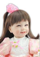 "22""Bambole bebe Reborn Toddler Doll Lifelike Princess Girl Vinyl Long Hair Baby"
